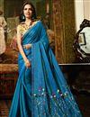 image of Esha Gupta Sky Blue Art Silk Fabric Designer Lace Work Saree With Blouse