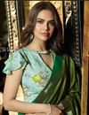 photo of Esha Gupta Reception Wear Saree With Lace Work In Art Silk Fabric Dark Green