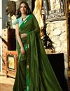 image of Esha Gupta Reception Wear Saree With Lace Work In Art Silk Fabric Dark Green