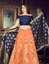 image of Weaving Work Orange Party Wear Lehenga In Banarasi Silk Fabric With Ravishing Blouse