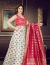 image of Weaving Work Wedding Wear Lehenga Choli In Banarasi Silk Fabric Off White