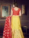 photo of Yellow Sangeet Wear Lehenga With Weaving Work In Banarasi Silk Fabric