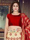 photo of Weaving Work Designs On Beige Banarasi Silk Fabric Wedding Wear Lehenga