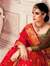photo of Jacquard Work Red Art Silk Fabric Occasion Wear Saree With Amazing Blouse