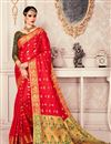 image of Jacquard Work Red Art Silk Fabric Occasion Wear Saree With Amazing Blouse