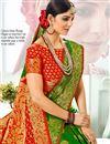 photo of Jacquard Work Banarasi Silk Fabric Occasion Wear Dark Green Saree With Designer Blouse