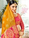 photo of Mustard Banarasi Silk Fabric Jacquard Work Party Wear Saree With Designer Blouse