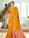 image of Mustard Banarasi Silk Fabric Jacquard Work Party Wear Saree With Designer Blouse