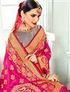 photo of Banarasi Silk Fabric Jacquard Work Sangeet Wear Rani Saree With Designer Blouse
