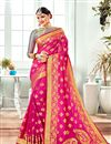 image of Banarasi Silk Fabric Jacquard Work Sangeet Wear Rani Saree With Designer Blouse