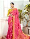 image of Festive Wear Saree With Jacquard Work In Banarasi Silk Fabric Pink