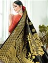 photo of Jacquard Work Black Banarasi Silk Fabric Function Wear Saree With Designer Blouse