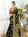 image of Jacquard Work Black Banarasi Silk Fabric Function Wear Saree With Designer Blouse