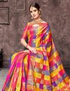 photo of Jacquard Work Designs On Multi Color Art Silk Fabric Party Wear Saree With Designer Blouse