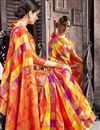 photo of Multi Color Art Silk Fabric Designer Saree With Jacquard Work Designs And Enchanting Blouse