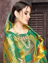 photo of Art Silk Fabric Multi Color Party Wear Saree With Jacquard Work And Charming Blouse