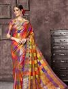 image of Jacquard Work Designs On Art Silk Fabric Occasion Wear Saree In Multi Color With Enticing Blouse