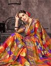 photo of Multi Color Art Silk Fabric Designer Saree With Jacquard Work And Party Wear Blouse
