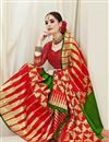 photo of Green Color Art Silk Fabric Party Wear Saree With Weaving Work And Enigmatic Blouse