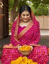 photo of Georgette Pink Festive Style Fancy Bandhej Print Saree With Lace Boder