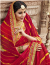 photo of Georgette Festive Style Fancy Red Leheriya Print Saree With Boder