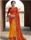 image of Georgette Mustard Festive Style Fancy Leheriya Print Saree With Lace Boder