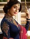 photo of Kritika Kamra Satin Georgette Fabric Designer Embroidered Straight Cut Salwar Kameez In Blue
