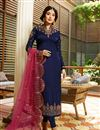 image of Kritika Kamra Embroidery Designs On Blue Party Wear Straight Cut Suit In Satin Georgette Fabric