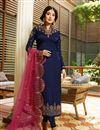 image of Kritika Kamra Satin Georgette Fabric Designer Embroidered Straight Cut Salwar Kameez In Blue