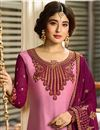 photo of Kritika Kamra Pink Party Wear Straight Cut Salwar Suit In Satin Georgette Fabric With Embroidery Work
