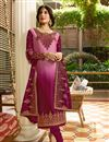 image of Kritika Kamra Satin Georgette Fabric Pink Function Wear Embroidered Straight Cut Suit