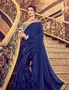 image of Navy Blue Designer Ruffle Saree In Art Silk Fabric With Embroidery Designs And Attractive Blouse