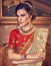 photo of Art Silk Fabric Cream Occasion Wear Ruffle Saree With Embroidery Work And Designer Blouse