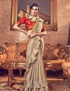 image of Art Silk Fabric Cream Occasion Wear Ruffle Saree With Embroidery Work And Designer Blouse