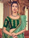 photo of Function Wear Art Silk Fabric Embroidery Work On Ruffle Saree In Sea Green With Alluring Blouse