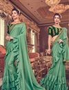 image of Function Wear Art Silk Fabric Embroidery Work On Ruffle Saree In Sea Green With Alluring Blouse