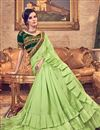 photo of Embroidery Designs On Art Silk Fabric Green Party Wear Ruffle Saree With Mesmerizing Blouse