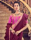 photo of Maroon Art Silk Fabric Designer Ruffle Saree With Embroidery Work And Party Wear Blouse