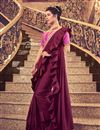 image of Maroon Art Silk Fabric Designer Ruffle Saree With Embroidery Work And Party Wear Blouse