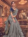 photo of Embroidery Work On Art Silk Fabric Grey Function Wear Ruffle Saree With Party Wear Blouse