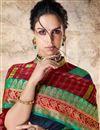 photo of Weaving Work On Festive Wear Saree In Cotton Silk Fabric Navy Blue
