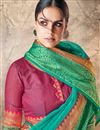 photo of Cyan Cotton Silk Fabric Function Wear Saree With Weaving Work