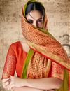 photo of Fancy Weaving Work Green Casual Wear Saree In Cotton Silk Fabric