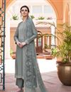 image of Fancy Fabric Grey Embroidered Function Wear Palazzo Salwar Suit