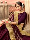 photo of Art Silk Party Style Designer Wine Fancy Saree With Embroidery Work