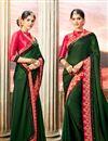 image of Designer Dark Green Embroidered Party Wear Fancy Saree In Art Silk