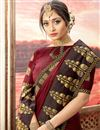 photo of Fancy Brown Party Style Designer Art Silk Saree With Embroidery Work
