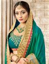 photo of Designer Teal Embroidered Party Wear Fancy Saree In Art Silk