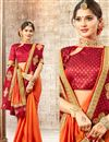 photo of Party Wear Art Silk Fancy Orange Designer Saree With Embroidery