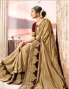 photo of Fancy Art Silk Party Style Designer Beige Saree With Embroidery Work